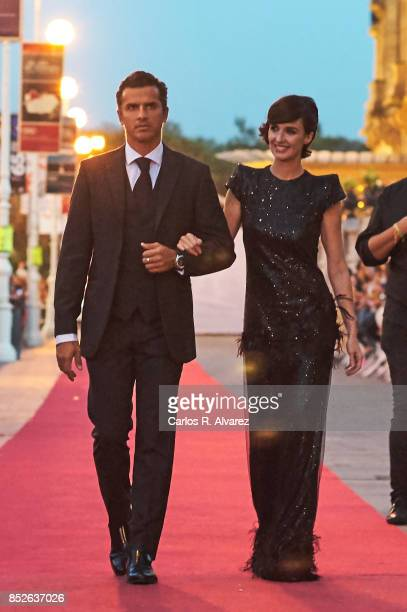 Spanish actress Paz Vega and Orson Salazar attend the JaegerLeCoultre 'Latin Cinema Award' at the Victoria Eugenia Teather on September 23 2017 in...