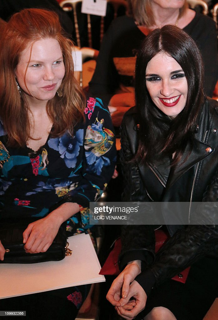 Spanish actress Paz Vega (R) and US actress Shanyn Leigh attend French designer Jean Paul Gaultier's show during the Haute Couture Spring-Summer 2013 collection presentations on January 23, 2013 in Paris.