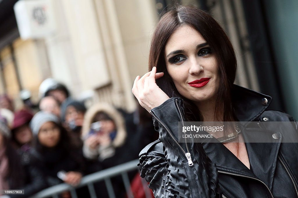 Spanish actress Paz Vega arrives to attend French designer Jean Paul Gaultier's show during the Haute Couture Spring-Summer 2013 collection presentations on January 23, 2013 in Paris. AFP PHOTO /LOIC VENANCE