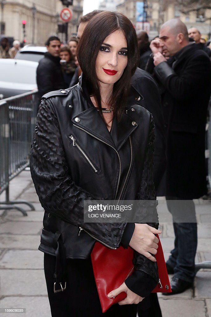 Spanish actress Paz Vega arrives to attend French designer Jean Paul Gaultier's show during the Haute Couture Spring-Summer 2013 collection presentations on January 23, 2013 in Paris.