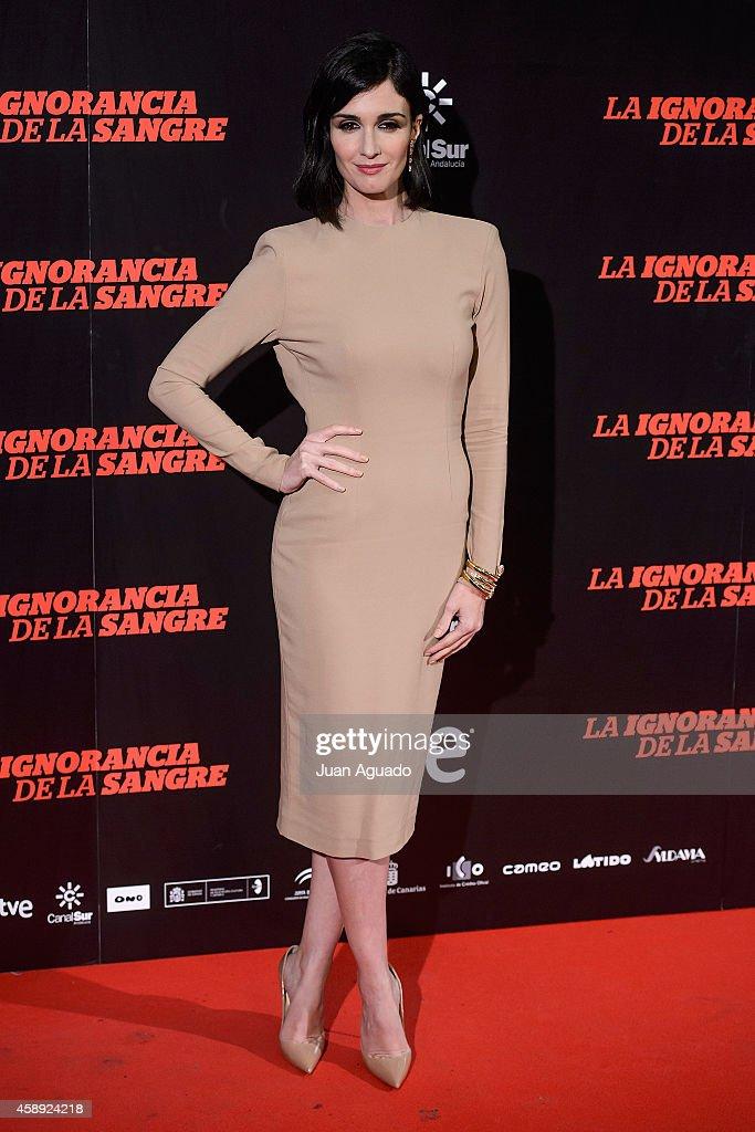 Spanish actress Paz Vega attends 'La Ignorancia de la Sangre' Madrid Premiere at the Capitol Cinema on November 13 2014 in Madrid Spain