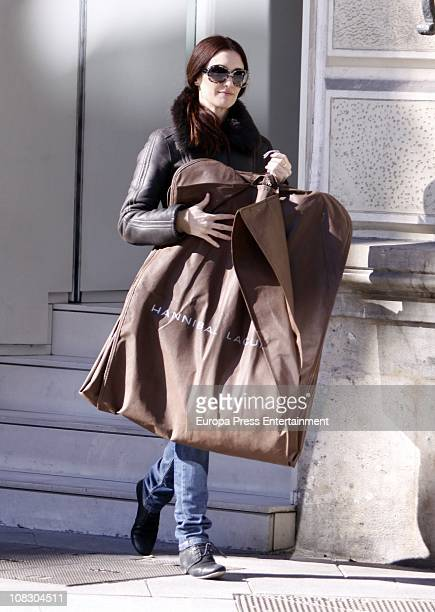 Spanish actress Paz Vega is seen leaving Hannibal Laguna clothes shop on January 25 2011 in Madrid Spain