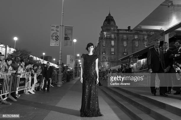 Spanish actress Paz Vega recives the JaegerLeCoultre 'Latin Cinema Award' at the Victoria Eugenia Teather on September 23 2017 in San Sebastian Spain