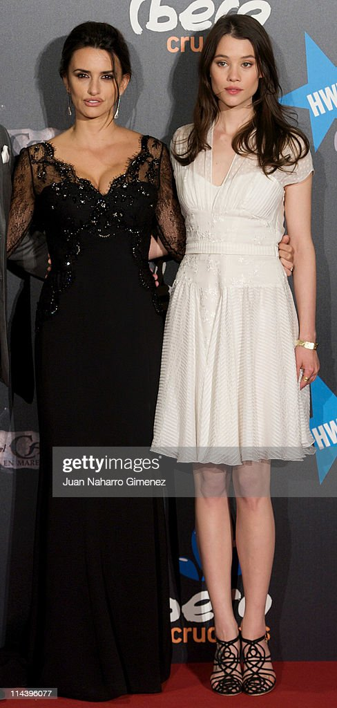 Spanish actress Penelope Cruz (L) and Astrid Berges-Frisbey attend 'Pirates Of The Caribbean: On Stranger Tides'