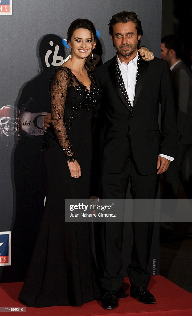 Spanish actress Penelope Cruz (L) and Jordi Moya (R) attend 'Pirates Of The Caribbean: On Stranger Tides'