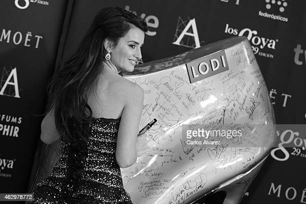 Spanish actress Penelope Cruz attends the Goya Cinema Awards 2014 red carpet at the Principe Felipe Auditorium on February 7 2015 in Madrid Spain