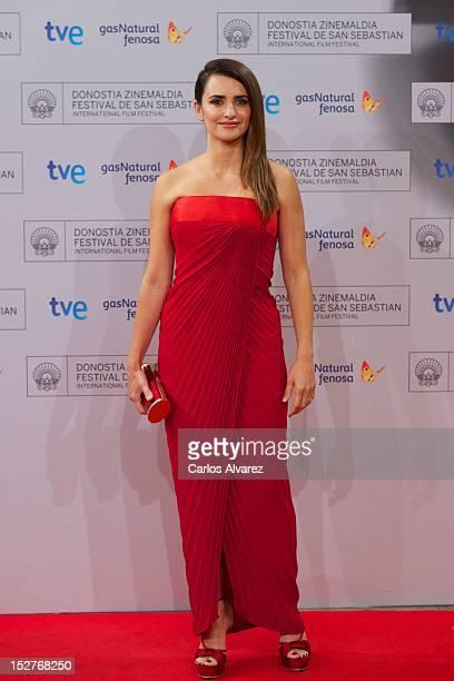 Spanish actress Penelope Cruz attends the 'Venuto al Mondo' premiere at the Kursaal Palace during the 60th San Sebastian International Film Festival...