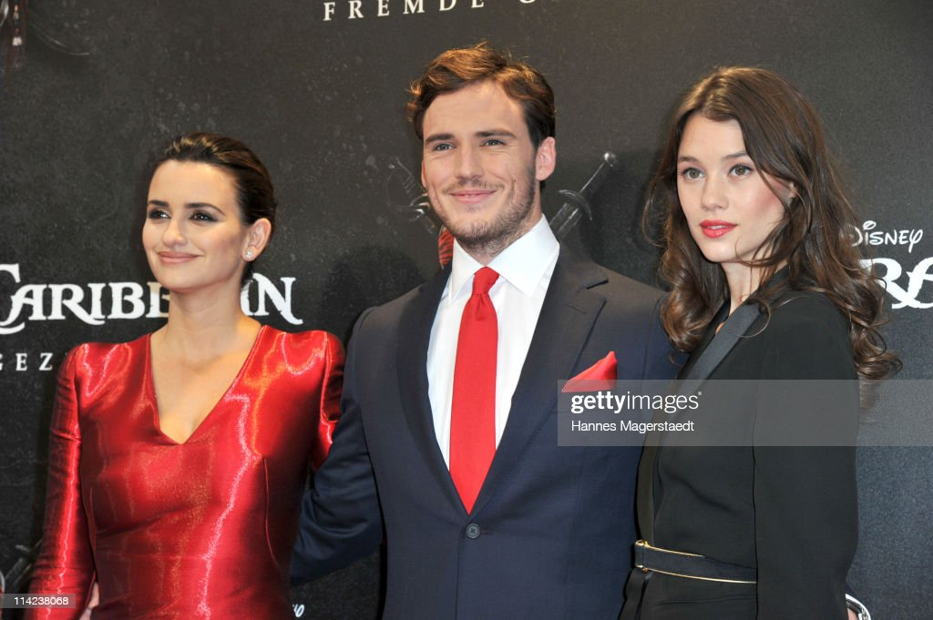 Spanish actress Penelope Cruz, British actor Sam Claflin and French actress Astrid-Berges Frisbey pose during the Germany Premiere of 'Pirates Of The Caribbean: On Stranger Tides' at the Mathaeser Filmpalast on May 16, 2011 in Munich, Germany.