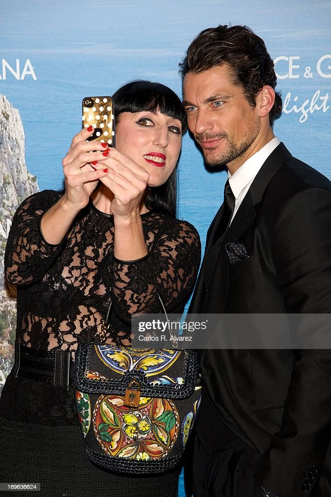 Spanish actress Rossy de Palma and model David Gandy attend Mediterranean Summer Cocktail By Dolce & Gabbana at the Santo Mauro Hotel on May 29, 2013 in Madrid, Spain.