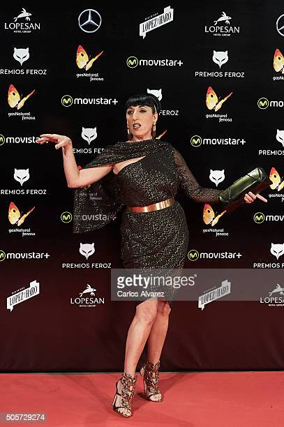 Spanish actress Rossy de Palma attends the Feroz Awards 2016 red carpet at the Gran Teatro Principe Pio on January 19 2016 in Madrid Spain