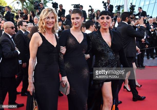 Spanish actress Rossy de Palma French comedian Michele Laroque and her daughter Oriane Deschamps pose as they arrive on May 19 2017 for the screening...
