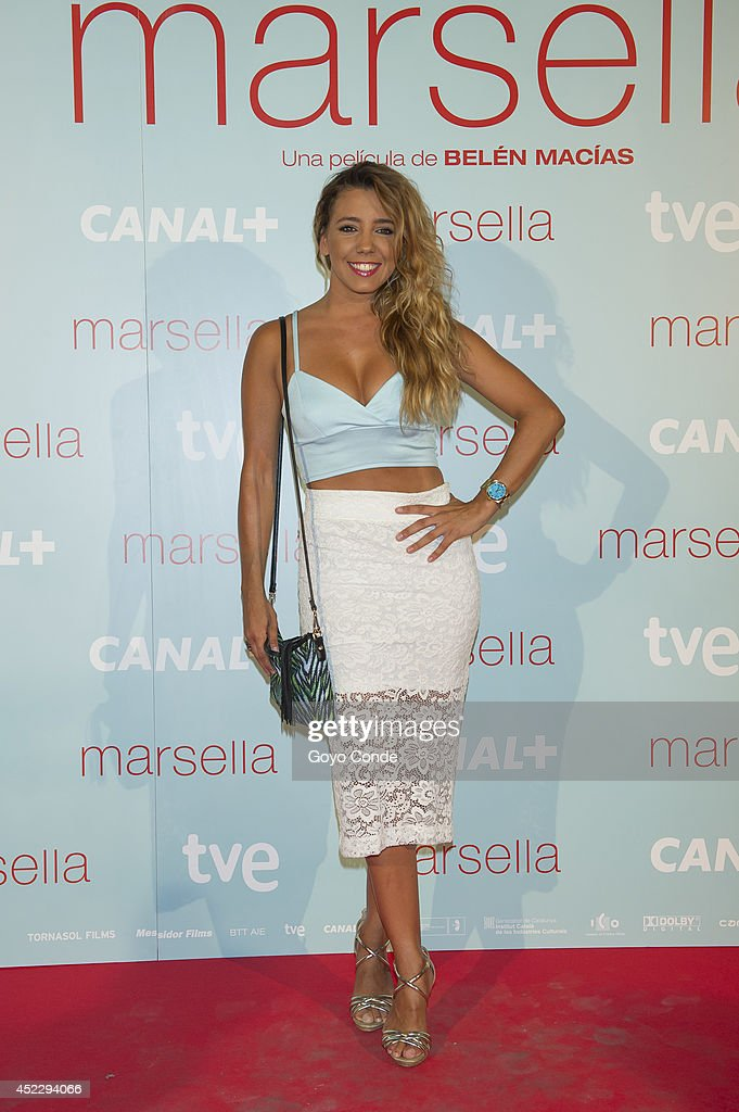 Spanish actress <a gi-track='captionPersonalityLinkClicked' href=/galleries/search?phrase=Sandra+Cervera&family=editorial&specificpeople=8260920 ng-click='$event.stopPropagation()'>Sandra Cervera</a> attends 'Marsella' premiere at the Capitol cinema on July 17, 2014 in Madrid, Spain.