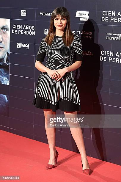 Spanish actress Sara Salamo attends the 'Cien Anos de Perdon' premiere at the Capitol cinema on March 1 2016 in Madrid Spain