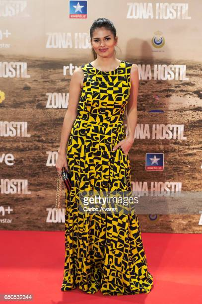 Spanish actress Sara Salamo attends 'Zona Hostil' premiere at the Kinepolis cinema on March 9 2017 in Madrid Spain