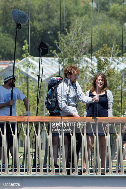 Spanish actress Teresa Hurtado attends the 'Cita a Ciegas' filming at 'Madrid Rio' on July 16 2014 in Madrid Spain