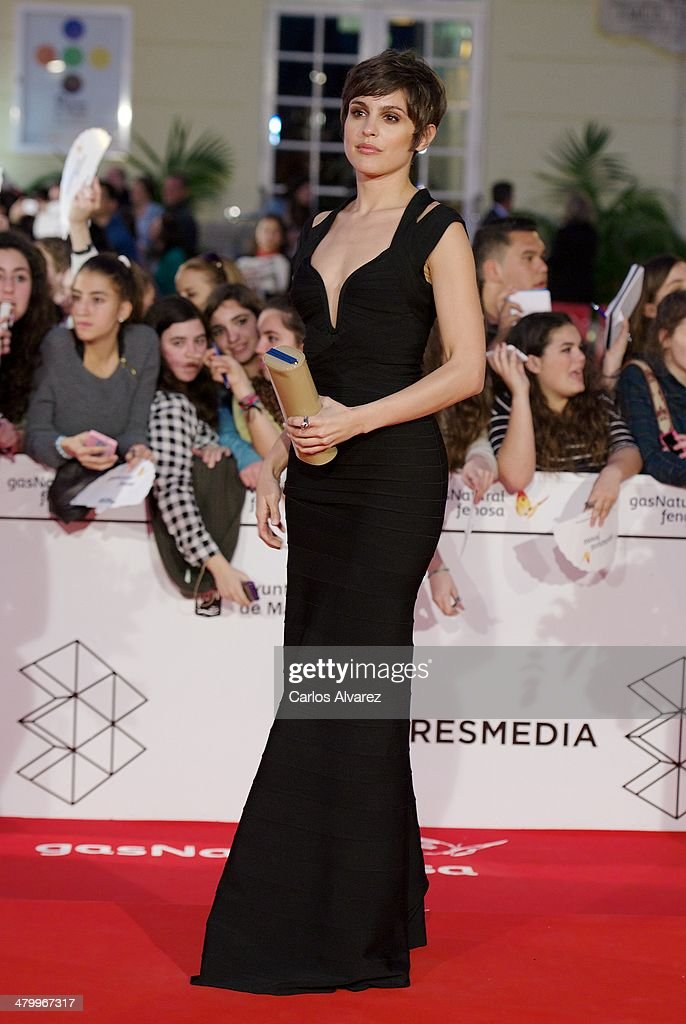 Spanish actress <a gi-track='captionPersonalityLinkClicked' href=/galleries/search?phrase=Veronica+Echegui&family=editorial&specificpeople=3967649 ng-click='$event.stopPropagation()'>Veronica Echegui</a> attends the 17th Malaga Film Festival 2014 opening ceremony at the Cervantes Theater on March 21, 2014 in Malaga, Spain.