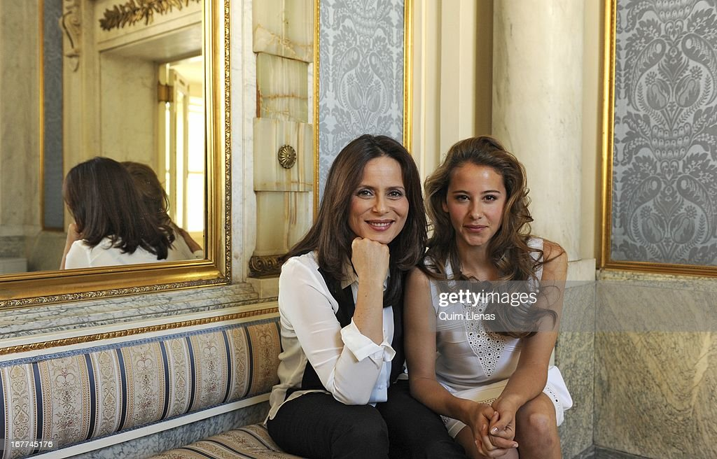 Spanish actresses (L-R) Aitana Sanchez Gijon and Irene Escolar pose for a photo shoot after the press conference for 'La Chunga' play at Espanol Theatre on April 24, 2013 in Madrid, Spain.