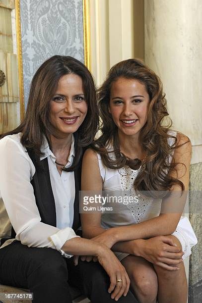 Spanish actresses Aitana Sanchez Gijon and Irene Escolar pose for a photo shoot after the press conference for 'La Chunga' play at Espanol Theatre on...