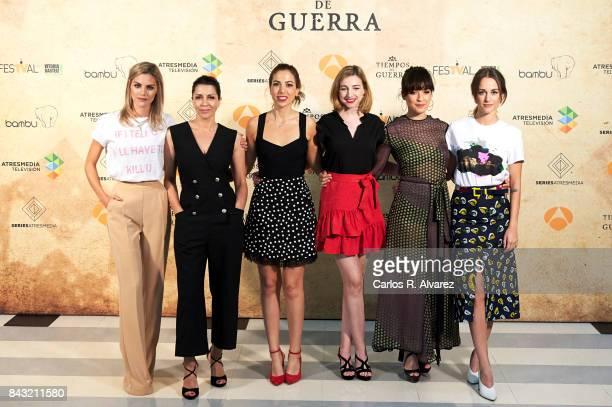 Spanish actresses Amaia Salamanca Alicia Borrachero Alicia Rubio Anna Moliner Veronica Sanchez and Silvia Alonso attend 'Tiempo de Guerra' photocall...