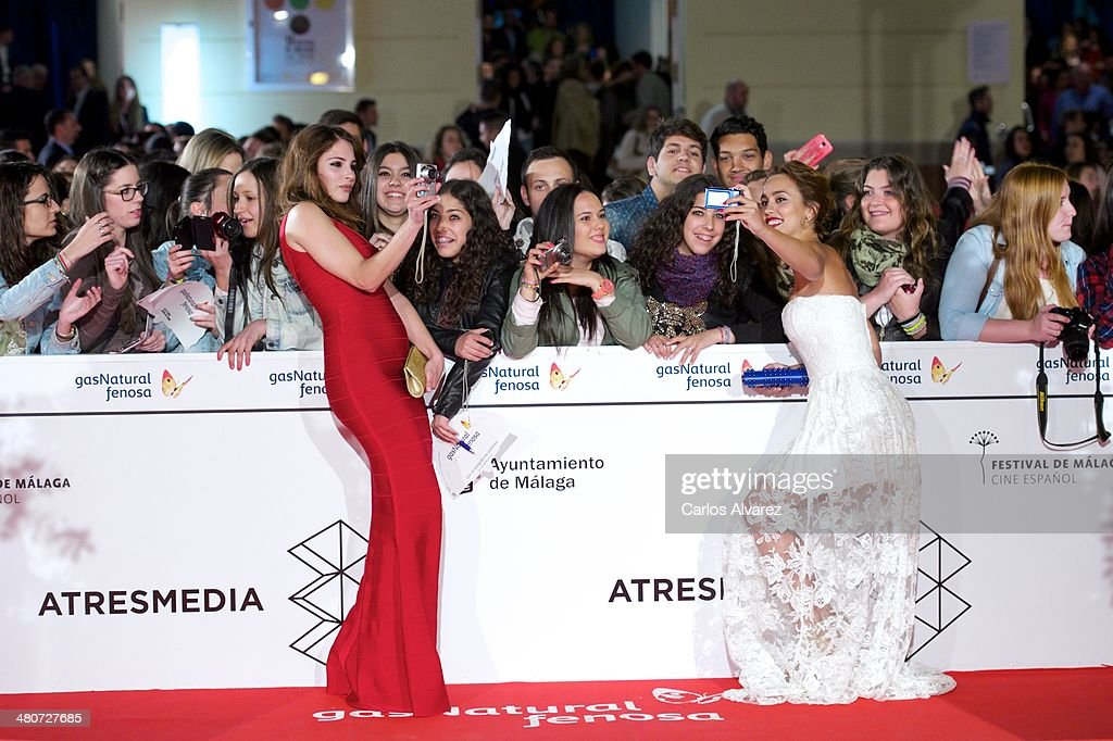 Spanish actresses Andrea Duro (L) and <a gi-track='captionPersonalityLinkClicked' href=/galleries/search?phrase=Megan+Montaner&family=editorial&specificpeople=7622380 ng-click='$event.stopPropagation()'>Megan Montaner</a> (R) attend the 'Por un Punado de Besos' premiere during the 17th Malaga Film Festival 2014 - Day 6 at the Cervantes Theater on March 26, 2014 in Malaga, Spain.