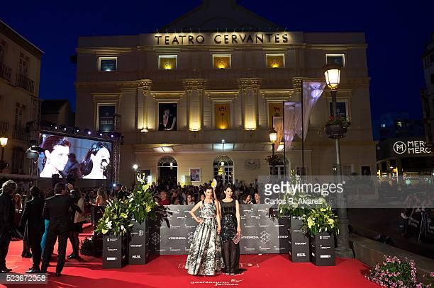 Spanish actresses Barbara Goenaga and Maribel Verdu attend 'La Punta del Iceberg' premiere at the Cervantes Theater during the 19th Malaga Film...