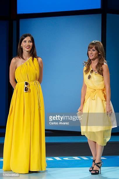 Spanish actresses Barbara Goenaga and Marta Etura attend 'Intruders' premiere at the Kursaal Palace during the 59th San Sebastian International Film...