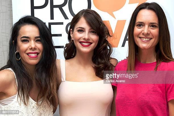 Spanish actresses Beatriz Luengo Andrea Duro and Eva Santolaria attend 'De Al Salir de Clase a Fisica o Quimica' press conference at Palacio de...