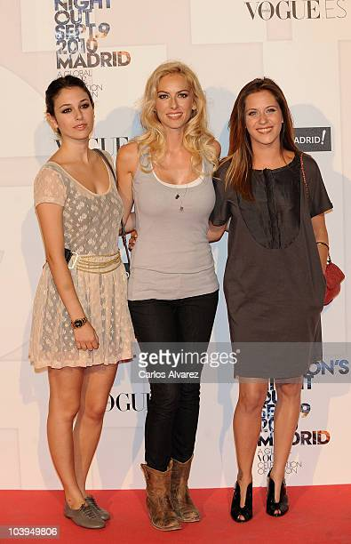 Spanish actresses Blanca Suarez Kira Miro and Maria Leon attends 'Vogue Fashion Night Out 2010' on September 9 2010 in Madrid Spain