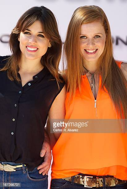 Spanish actresses Maria Castro and Adriana Ugarte attend the 'Combustion' photocall on April 23 2013 in Belmonte de Tajo near of Madrid Spain
