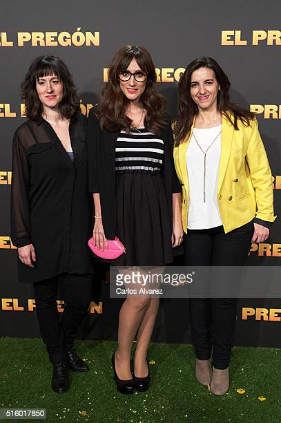 Spanish actresses Maria Juan Ana Morgade and Llum Barrera attend the 'El Pregon' premiere at the Capitol cinema on March 16 2016 in Madrid Spain