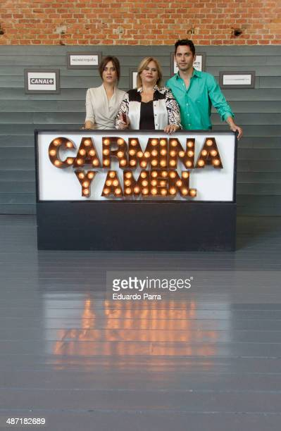 Spanish actresses Maria Leon Carmina Barrios and spanish actor Paco Leon attend the 'Carmina y Amen' photocall at the Cineteca on April 28 2014 in...