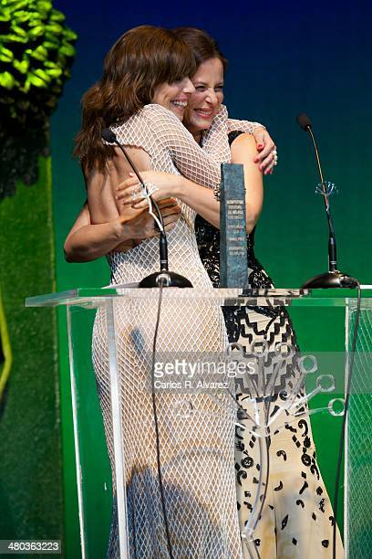 Spanish actresses Maribel Verdu and Aitana Sanchez Gijon attend the 'Malaga Sur' award 2014 during the 17th Malaga Film Festival 2014 Day 4 at the...