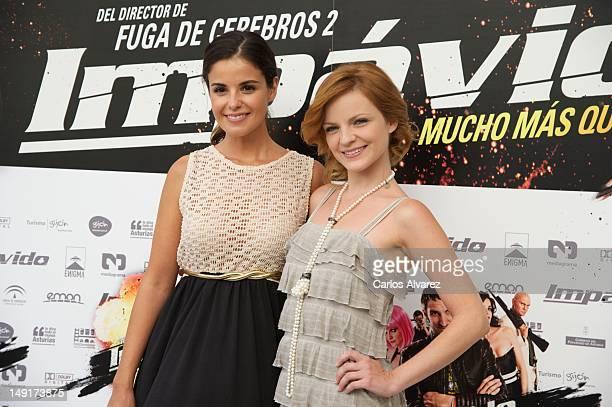 Spanish actresses Marta Torne and Carolina Bona attend 'Impavido' photocall at Academia de Cine on July 24 2012 in Madrid Spain