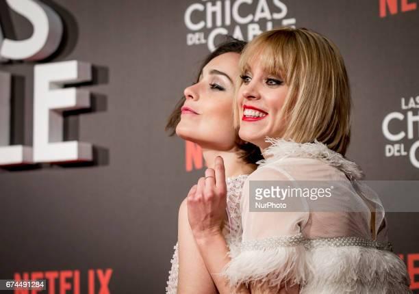 Spanish actresses Nadia de Santiago and Maggie Civantos attend 'Las Chicas Del Cable' premiere at the Callao cinema on April 27 2017 in Madrid Spain