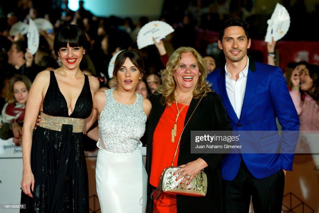 Spanish actresses Yolanda Ramos, Maria Leon, Carmina Barros and actor Paco Leon attend the 17th Malaga Film Festival 2014 closing ceremony at the Cervantes Theater on March 29, 2014 in Malaga, Spain.