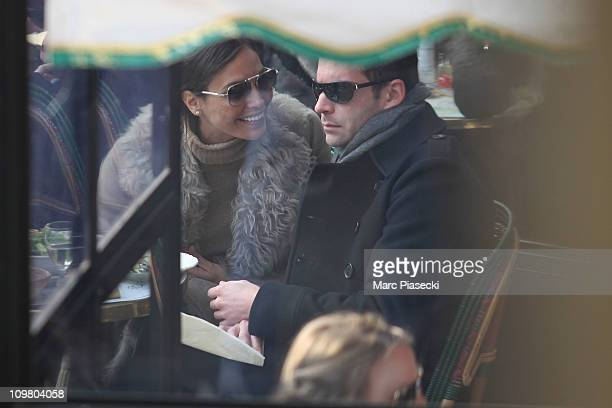 Spanish actress/model Ines Sastre enjoys lunch on the terrace of the 'Cafe de Flore' in Saint Germain des Pres on March 5 2011 in Paris France