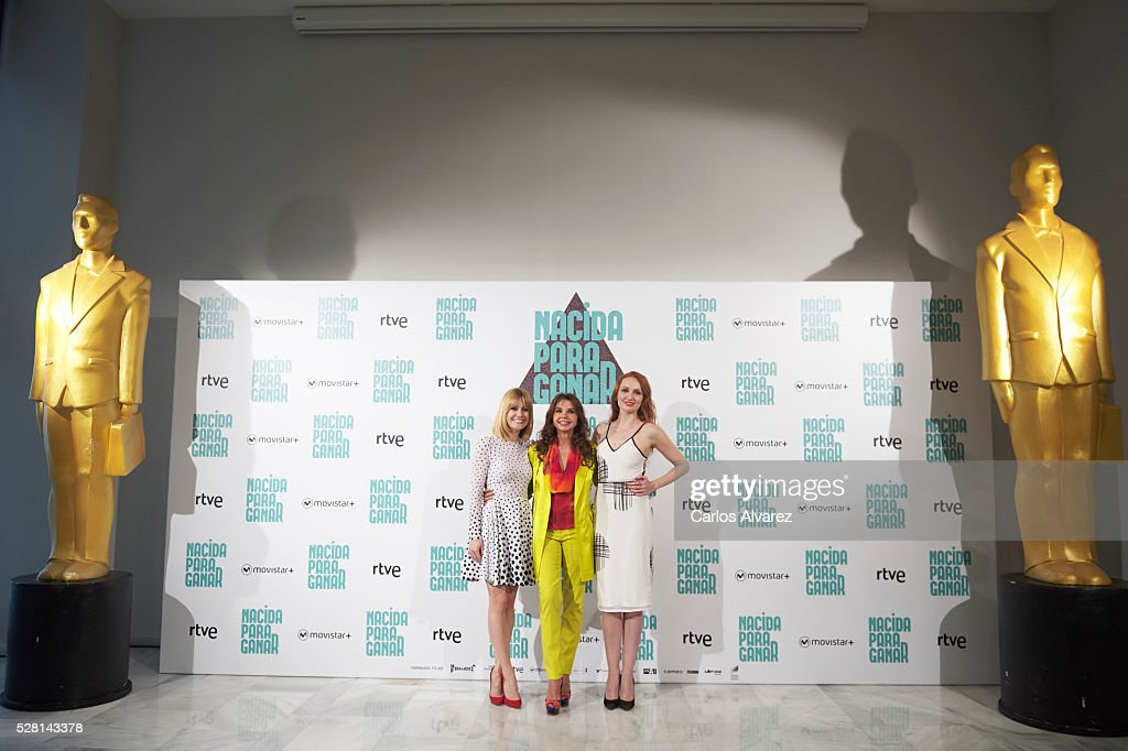 Spanish actressses Alexandra Jimenez, Victoria Abril and Cristina Castano attend 'Nacidas Para Ganar' photocall at the Eurobuilding Hotel on May 04, 2016 in Madrid, Spain.