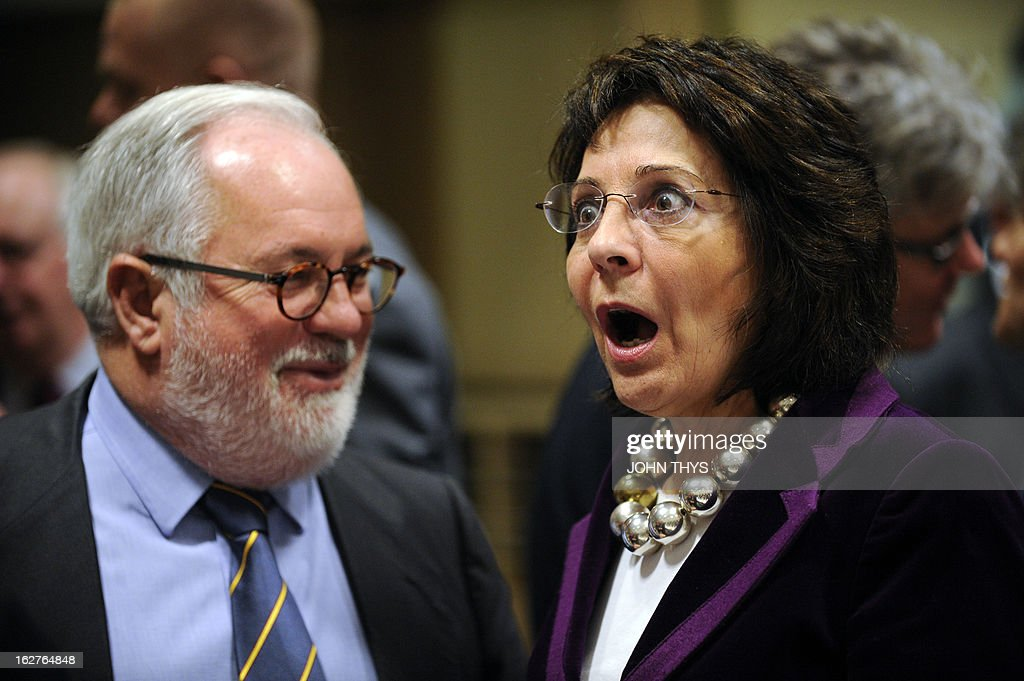 Spanish Agriculture and Environment Minister Miguel Arias Canete (L) talks with EU fisheries and maritime affairs commissioner Maria Damanaki before an Agriculture and Fisheries Council meeting at the EU Headquarters in Brussels on February 26, 2013.