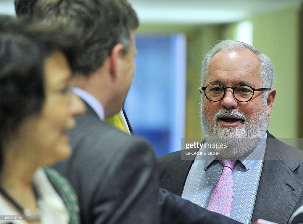 Spanish Agriculture and Environment Minister Miguel Arias Canete arrives for an European Union's Agriculture ministers meeting, on January 28, 2013 at the EU Headquarters in Brussels. The Council will hold an exchange of views on the Irish presidency's work programme for the reform of the Common Fisheries Policy (CFP) and on the key issues requiring further discussion in this context, following the general approaches reached last year by the Council on the CFP reform proposals.