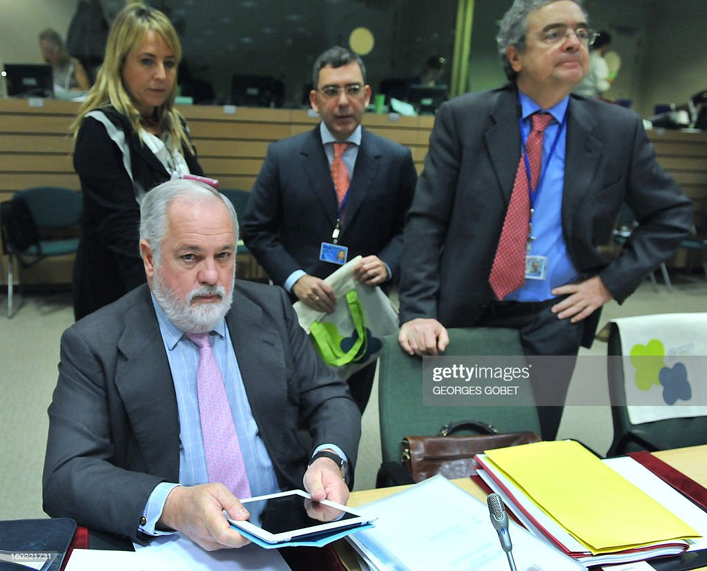 Spanish Agriculture and Environment Minister Miguel Arias Canete (foreground) is pictured prior to an European Union's Agriculture ministers meeting, on January 28, 2013 at the EU Headquarters in Brussels. The Council will hold an exchange of views on the Irish presidency's work programme for the reform of the Common Fisheries Policy (CFP) and on the key issues requiring further discussion in this context, following the general approaches reached last year by the Council on the CFP reform proposals.