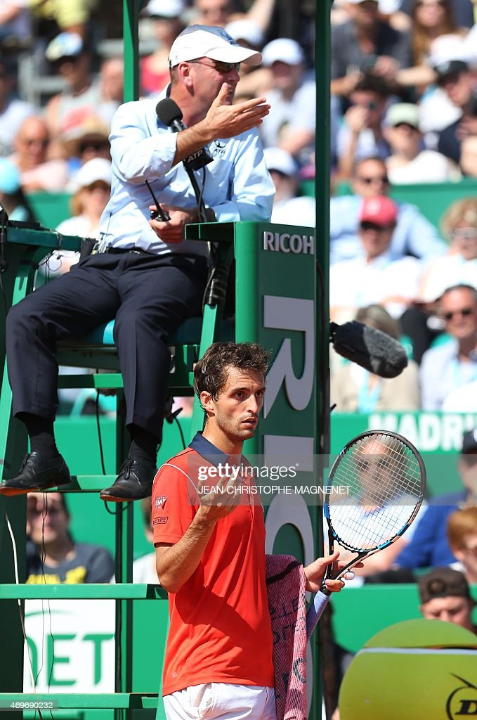 Spanish <a gi-track='captionPersonalityLinkClicked' href=/galleries/search?phrase=Albert+Ramos&family=editorial&specificpeople=6878507 ng-click='$event.stopPropagation()'>Albert Ramos</a>-Vinolas reacts during his Monte-Carlo ATP Masters Series Tournament tennis match vs Serbian Novak Djokovic, on April 14, 2015 in Monaco.