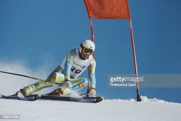 Spanish alpine skier Xavier Ubeira pictured during competition for the Spain team to finish in 28th place in the Men's giant slalom skiing event held...