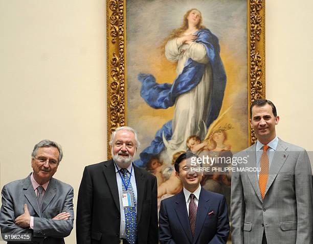 Spanish architect Rafael Moneo Prado Museum curator Juan Jose Luna Japanese Crown Prince Naruhito and Prince Felipe of Spain pose in front of...
