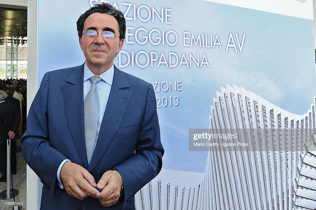 Spanish architect <a gi-track='captionPersonalityLinkClicked' href=/galleries/search?phrase=Santiago+Calatrava&family=editorial&specificpeople=135336 ng-click='$event.stopPropagation()'>Santiago Calatrava</a> attends the unveil of the Mediopadana High Speed Train Station on June 8, 2013 in Bologna, Italy. Composed of 457 steel frames it is the only stop on the high-speed line between Bologna and Milan