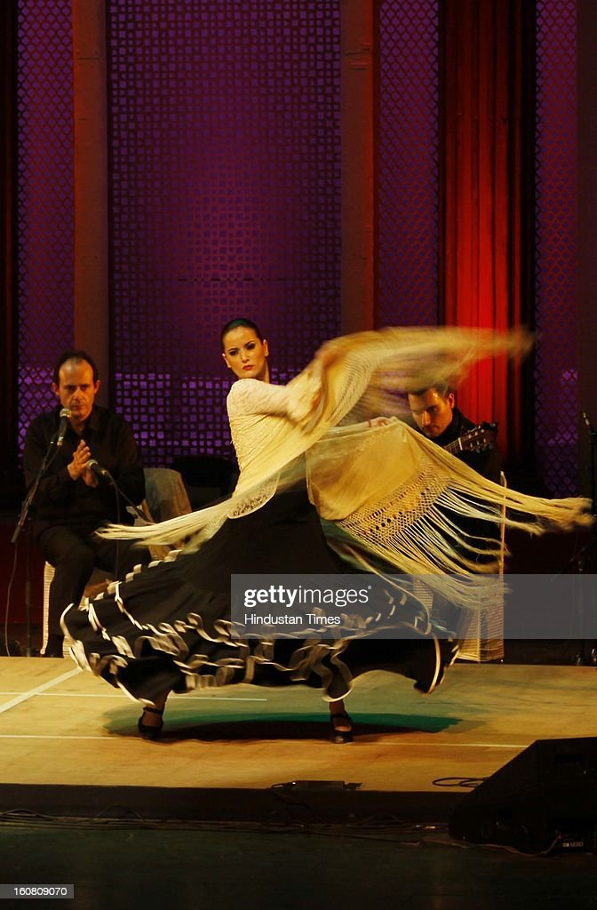 Spanish artist perform Flamenco Dance during ongoing third International Sufi Festival at Kamani Auditorium on February 6, 2013 in New Delhi, India. Organized by the the Indian Council for Cultural Relations, three day festival will feature Musicians from Spain, Azerbaijan, Russia, Iran, Tunisia and India.