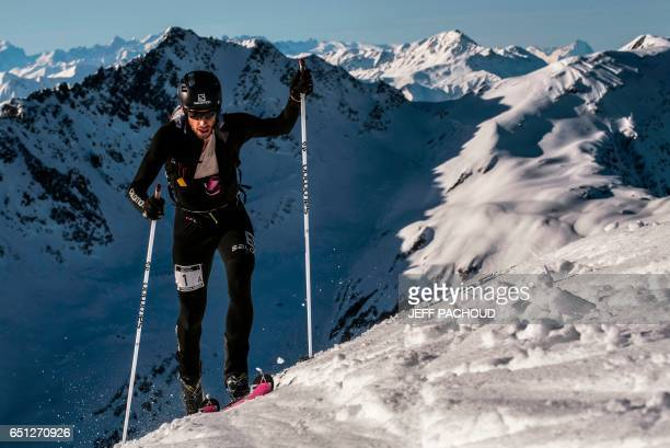 Spanish athlete Kilian Jornet competes on March 10 2017 in Beaufort during the third stage of the 32nd edition of ski mountaineering competition...