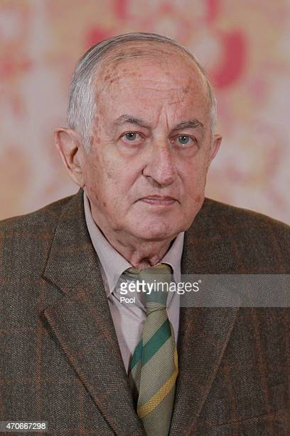 Spanish author Juan Goytisolo attends the lunch in ocassion of the '2014 Cervantes Award' at the Royal Palace on April 22 2015 in Madrid Spain