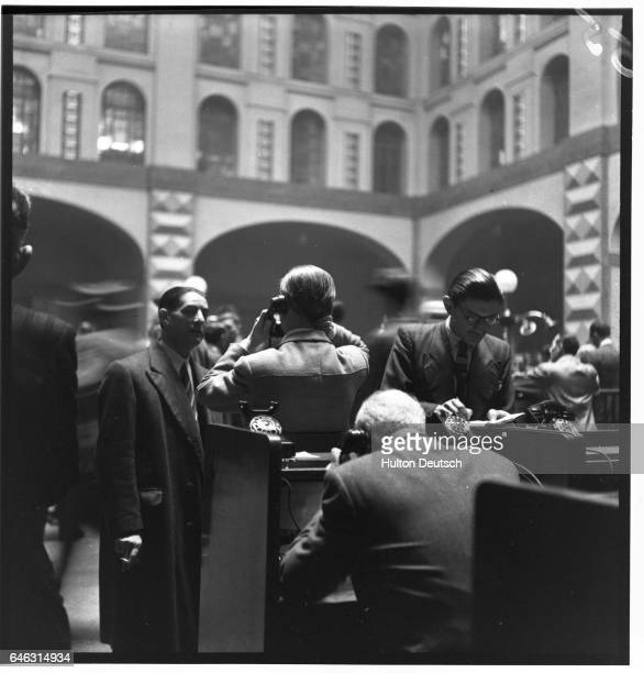 Spanish bankers trade stock at the Milan Stock Exchange in 1947