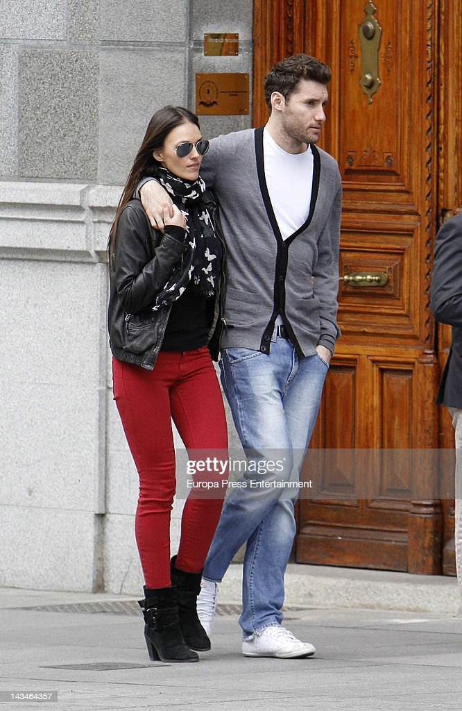 Spanish basketball player Rudy Fernandez and model Helen Lindes are seen on April 12 2012 in Madrid Spain