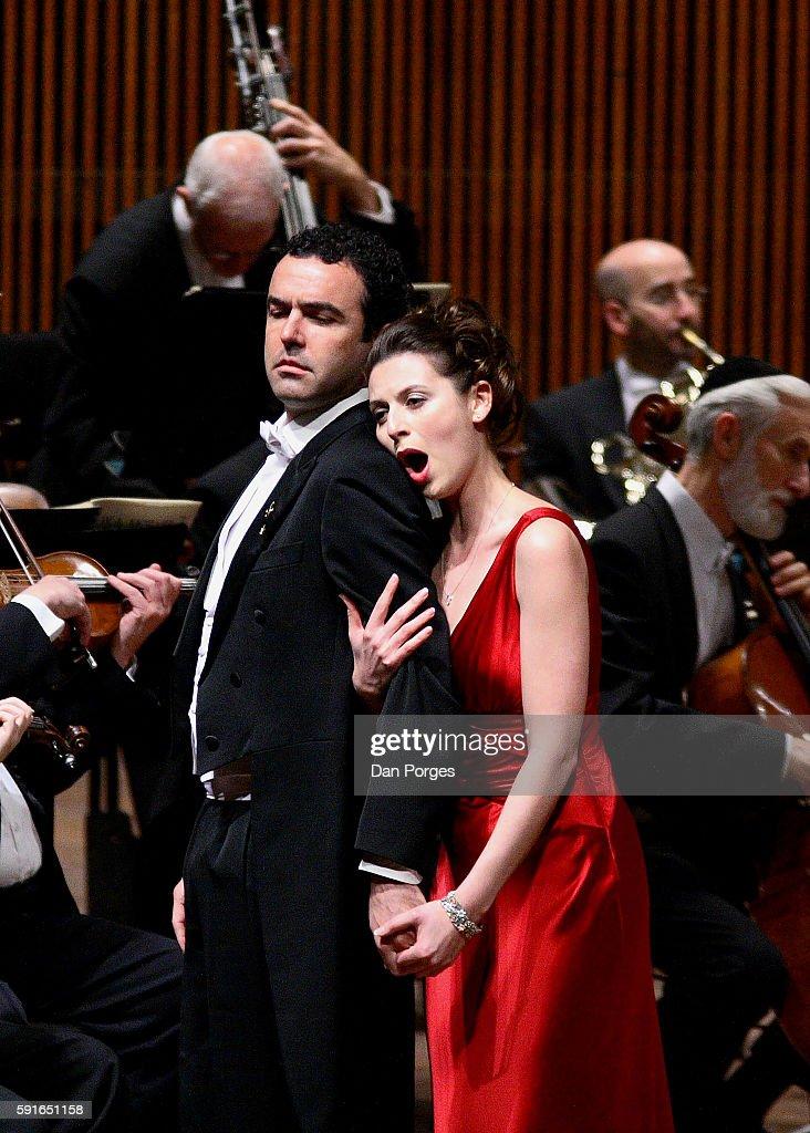 Spanish bassbaritone Simon Orfila and Israeli soprano Chen Reiss perform in a concert version of 'Don Giovanni' at the Mann Auditorium Tel Aviv...